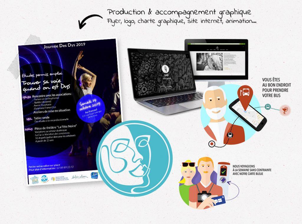 Production et accompagnement graphique : flyer, logo, charte graphique, site internet, animation...